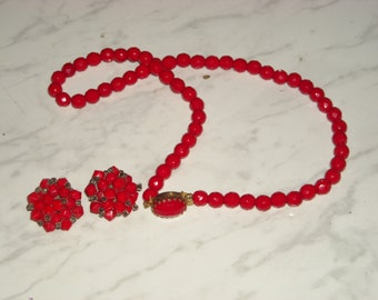 RED JAPAN Earrings and Beautiful Glass Necklace