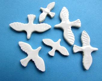 ceramic mosaic bird tiles, 6 handmade mosaic pieces, mosaic supplies  cardmaking or similar craft projects