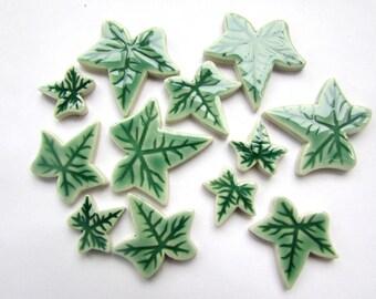 12 handmade ceramic ivy leaf mosaic tiles shapes 3 sizes