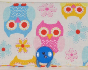 Fabric Business Card Holder Pastel Owls and flowers