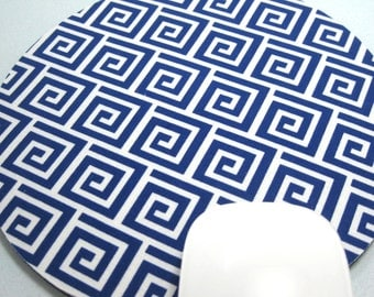 Buy 2 FREE SHIPPING Special!!   Mouse Pad, Round Fabric Mouse Pad or Trivet      Greek Fret in Royal