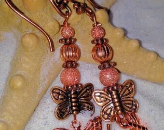 Copper Butterfly Swarovski Crystal Earrings