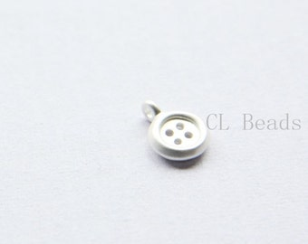 4pcs Matte Silver Plated Brass Base Charms-Button 9x13mm (1661C-S-205)