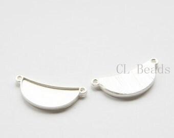 4pcs Matte Silver Plated Base Metal Links - Crescent - 25x11mm (483C-S-251)