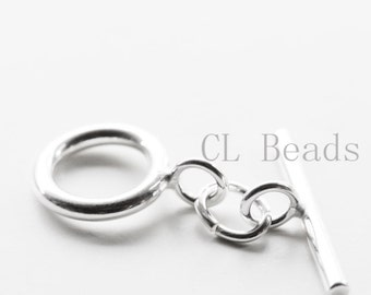 One Set of S925 Sterling Silver Toggle - 12mm