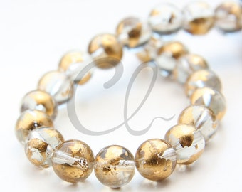 19pcs of Round Glass Beads - Transparent Crystal Gold Foil 10mm