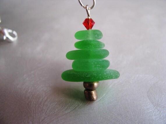 Beach glass jewelry christmas tree pendant holiday