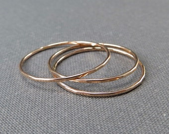 Thin Rose Gold Stackable Rings - Set of 3 or 4 Rings - Super Slim 1mm - 14K Rose Gold Filled - Simple Modern Minimal Rings