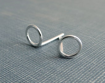 Sterling Silver Post Earrings - Small Open Circle Studs - Simple Modern Minimal Wire Jewelry