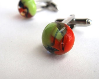 Lime Green, Orange and Blue Glass Planet Cufflinks