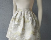 Party Beautiful Chinese Silk Brocade Champagne, Ivory and Gold Full Skirt With Side Pockets