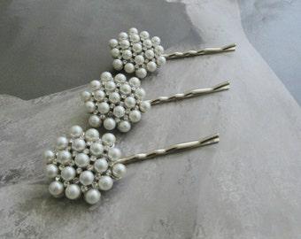 Wedding Bridal Set Of 3 Rhinestone and Pearl Hair Pins
