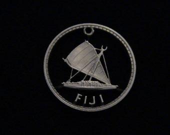 Fiji - cut coin pendant - w/ Outrigger - 1964