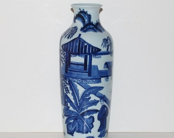 Chinoiserie White & Blue Ceramic Vase