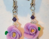 Purple Blooming Flower Earrings