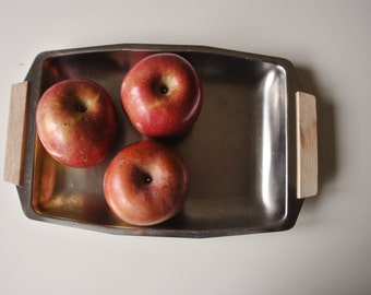 1960s Stainless Serving Platter, Mid-century Decor