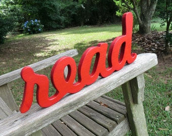 wood read wall hanging sign home decor solid color or lightly distressed