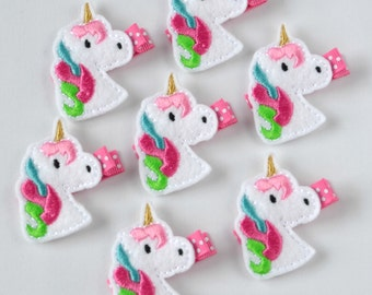 Pink, Turquoise, Apple Green and White Felt Unicorn Hair Clip - super cute felt hair bow - fun clippies for girls