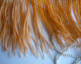 PICCOLO OSTRICH  Fringe,  Burnt Orange,  Peach  / 312