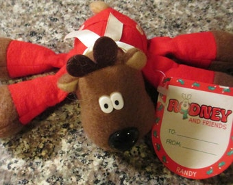 Vtge 1987 Hallmark Randy Reindeer Sewn Toy Burger King Giveaway