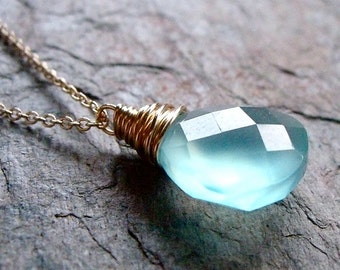 Chalcedony Gold Fill Pendant Necklace - Aquamarine Chalcedony Faceted Briolette Pendant