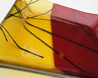 Rich Amber-Gold and Red Contemporary Fused Glass Dish