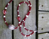 Long Red, Silver, and White Layering Necklace