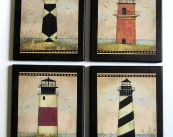 Lighthouses 4 pc. wall decor plaques beach, vintage style folk art lighthouse aged look