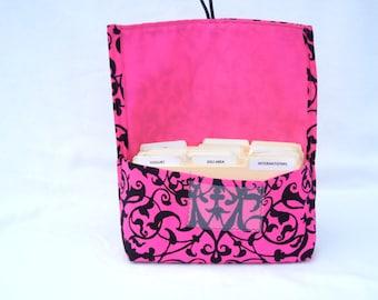 Coupon Organizer - Coupon Holder - Budget Wallet - Cash Wallet - Coupon Pouch - Coupon Purse - Trellis Scroll Pink Black Fabric