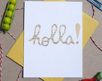 "Cutout ""Holla!"" Card, Hand-cut Cards on Vintage Paper, Everyday Cards, Holla!"