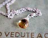 Citrine Necklace, November Birthstone, Citrine Pendant, Wire Wrapped, Pendant Necklace, Gemstone Necklace, Gemstone Pendant, Sterling Silver