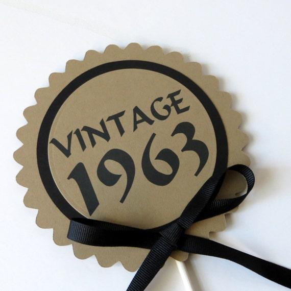 50th Birthday - Vintage 1965 Cake Topper Decoration, Candy Pick, Black ...