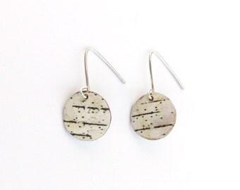 Extra small birch bark earrings, Small Circlets