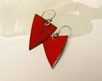 Vibrant Red Enameled Triangle Earrings with Sterling