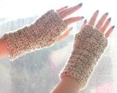 Winter Gloves, Beige Fingerless Gloves, Crochet Wrist Warmers, Arm Warmers, Womens Gift
