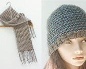 Two Knitting Patterns, Easy Knit Hat Pattern, Mosaic Knitting Pattern, Scarf Knitting Pattern, Knit Scarf Pattern, PDF Patterns