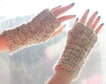 Beige Fingerless Gloves, Crochet Wrist Warmers, Arm Warmers, Womens Gift
