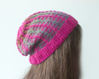 Plaid Slouchy Beanie, Winter Hat, Raspberry Hat,  Hand Knit Hat, Ready to Ship