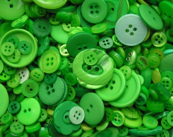 Plastic buttons mixed Green Creams colours bag of different sizes plastic button 50g, 100g, 250g or 1kg