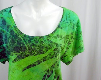 Girls Just Wanna... a DevoTee in Lime, Chartreuse, a bit of Jade and Black. A Hand Dyed MicroModal Slub Scoop Neck Cropped Tee (large)