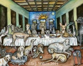 The Never-Ending Supper - Hound Dog Painting Illustration Print