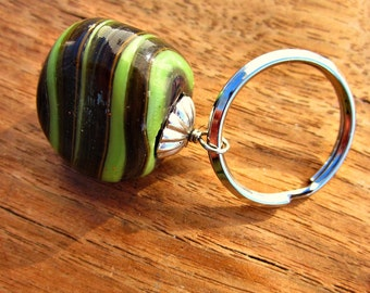 Silver Keyring or Purse Charm with Big Striped Glass Bead: Grasshopper