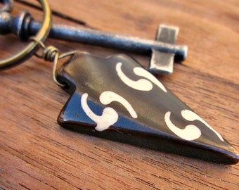 Rustic Brass Keyring or Purse Charm with Dark Brown and White Dyed Bone Accent: Spear