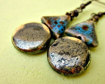 Polished Pyrite and Blue Ceramic on Rustic Brass Dangle Earrings: Moonlit Path