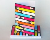 Blank note card set, folded blank cards, colored pencils