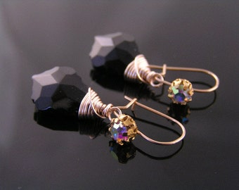 Baroque Black Crystal Rose Gold Earrings, Swarovski Crystal Earrings, Black Earrings, Rose Gold Jewelry, Baroque Earrings