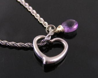 Heart Necklace, Swinging Heart and Amethyst Necklace, Swinging Heart Pendant, Birthstone Necklace with Heart Charm, Birthstone Jewelry