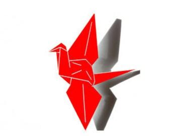 Red Origami Crane Brooch - laser cut acrylic paper crane bird pin