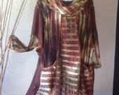 Beautiful Earth Tone Tunic Top  With Ribbons