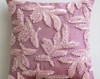 "Handmade  Pink Accent Pillows, Ribbon Leaf Tropical Theme Pillow Covers Square  18""x18"" Silk Throw Pillows Cover - Leafy Pink"